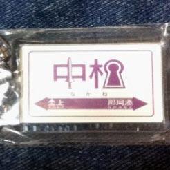 中根駅 駅名標キーホルダーの写真