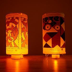 装飾古墳文様の火袋の写真